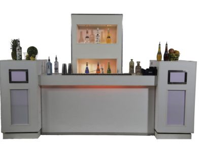 White lounge cocktail + white backbar